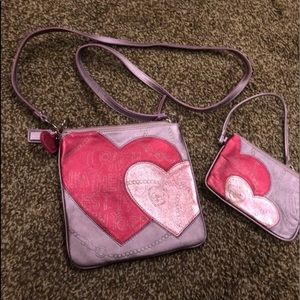 Coach leather poppy heart ❤️ crossbody &wristlet